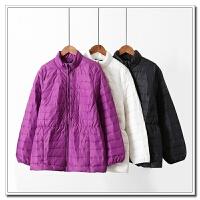 大码女装 秋冬中长胖MM200斤保暖时尚纯色拉链修身高领棉衣