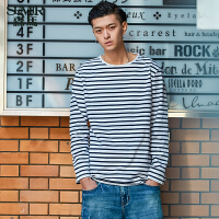 GLEMALL新款上衣男长袖男士条纹t恤圆领韩版打底衫男春季百搭时尚