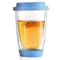 耐热玻璃杯硅胶盖茶杯创意花茶杯子350ML牛奶杯玻璃饮料杯果汁杯玻璃水杯子透明花茶杯蓝色