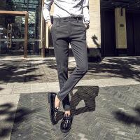 秋季新款韩版修身休闲西裤男商务绅士黑色小脚裤潮流百搭男长裤子