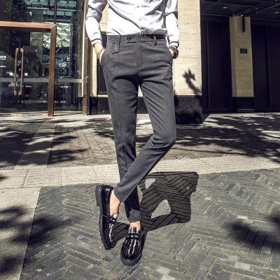 秋季新款韩版修身休闲西裤男商务绅士黑色小脚裤潮流百搭男长裤子 发货周期:一般在付款后2-90天左右发货,具体发货时间请以与客服协商的时间为准