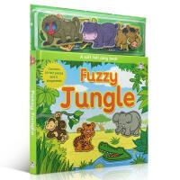【全店300减110】原版进口英文正版 Fuzzy Jungle Soft Felt Play Books 丛林布动物场