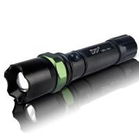 LED强光手电筒 应急手电筒 铝合金调焦锂电池户外便携手电筒 黑色