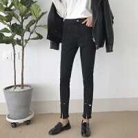 春季女装韩版chic风百搭毛边裤脚高腰显瘦牛仔裤女小脚铅笔裤长裤