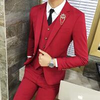 新品18春秋男士韩版修身潮流西服套装青年结婚大红色免烫休闲三件