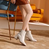 骆驼女鞋2019冬季新款加绒高跟百搭粗跟英伦风短靴女真皮短筒女靴