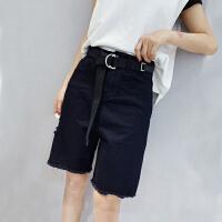 Lee Cooper女新款破洞五分牛仔裤中裤宽松显瘦骑行纯色个性毛边牛仔裤