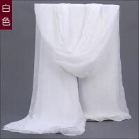 白色丝巾春季女百搭雪纺薄围巾长款海边纱巾大披肩方巾防晒沙滩巾