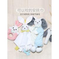 婴儿可入口安抚巾安抚玩偶宝宝0-1岁睡眠毛绒兔新生娃娃手偶玩具