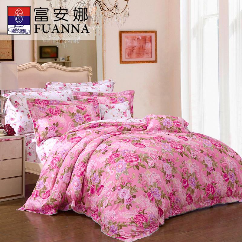 【年终盛典 限时秒杀】富安娜家纺 美丽花卉60S缎纹床上用品四件套 全棉单双人适用床单被罩