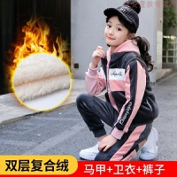 女童秋冬装套装2019新款女孩加绒加厚儿童装洋气运动金丝绒三件套