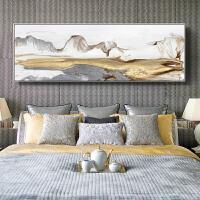 中式装饰画卧室床头挂画大气墙画山水壁画横款巨幅画
