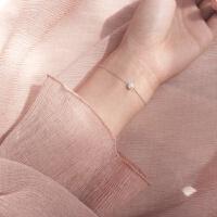 米粒迷你单颗母贝珍珠圆珠S925手链细款饰品复古女
