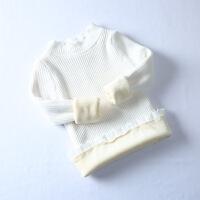 女童打底衫针织半高领毛衣套头2018新款洋气白色儿童加绒加厚冬季