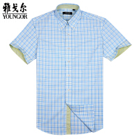 YOUNGOR雅戈尔 绿色底蓝色格子 涤棉VP免烫短袖衬衫 修身款SXP11154-22Y
