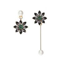 黑色花朵仿珍珠日气质简约耳坠女一长一短不对称耳环