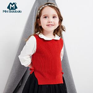 【129元3件】迷你巴拉巴拉女童衬衫长袖白色儿童衬衣新款宝宝秋装公主打底衫