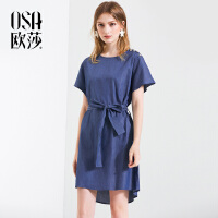 欧莎冷淡风ins超火的港风复古连衣裙女夏2018新款极简气质显瘦裙