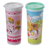 塑料防漏杯 密封杯 卡通水杯随手杯子小学生儿童水壶 颜色随机
