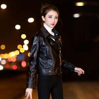 皮衣女士秋季新PU皮机车皮衣女短修身显瘦时尚皮外套小皮夹克 黑色