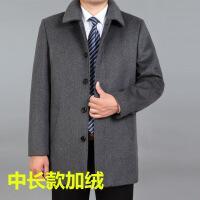 秋冬季加厚中老年翻领夹克爸爸装宽松大码羊毛呢外套中年男装上衣