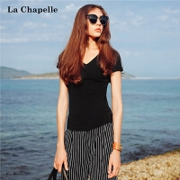 拉夏贝尔夏季新款韩范上衣时尚V领纯色休闲衣服短袖t恤女士打底衫10012932
