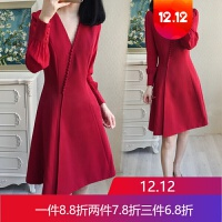 大码女装早秋装新款胖mm长袖连衣裙胖妹妹红色显瘦裙子200斤