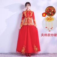 敬酒服新娘旗袍红色结婚礼服女中式婚纱嫁衣长袖冬季龙凤褂秀禾服