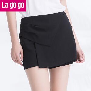 【商场同款】Lagogo/拉谷谷2017年夏季新款时尚百搭高腰纯色裙裤GAKK735A46