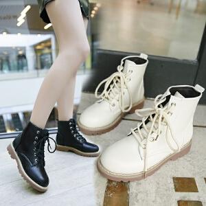 马丁靴女短靴女英伦女靴子风学生韩版百搭2018春秋单靴平底短靴机车chic310MM