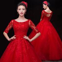 婚纱礼服2018新款新娘长袖复古高贵大码齐地一字肩蓬蓬裙红色春季