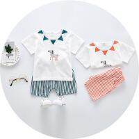 宝宝套装儿童夏装0-1-3岁男女童短袖T恤+短裤两件套休闲婴儿衣服