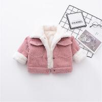 加厚加棉男女宝宝冬装加绒棉衣外套0-1-2-3岁韩版女童婴儿棉袄潮