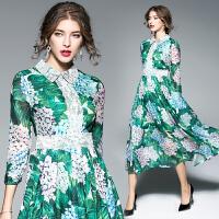 绿叶绣球花印花连衣裙女中长款夏季新款蕾丝娃娃领短袖大摆裙
