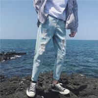 男士裤子夏季新款2018牛仔裤韩版修身小脚裤潮流破洞九分裤薄学生