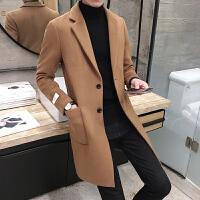 新款秋冬季中长款风衣男士青少年修身呢大衣韩版翻领休闲外套男潮