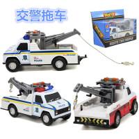 合金回力消防交警拖车吊车牵引车 带灯光音乐汽车玩具模型