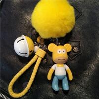 暴力熊毛球编织钥匙扣女性可爱创意钥匙链汽车钥匙圈情侣包包挂件情人节礼物