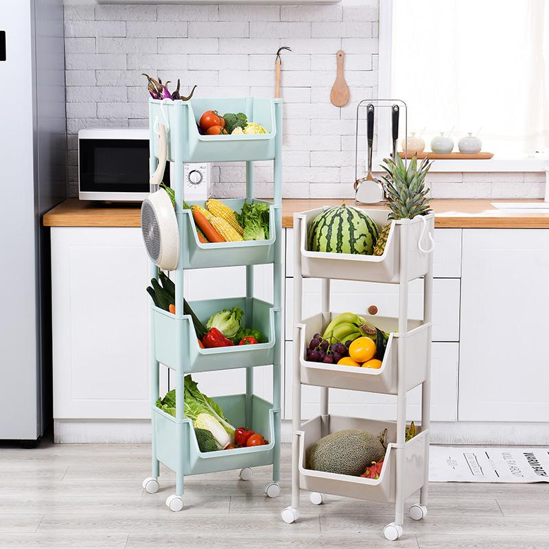 厨房用品蔬菜置物架收纳架落地多层塑料家用果蔬储物架水果收纳筐