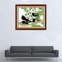 十字绣成品纯手工绣好的熊猫国宝熊猫一家竹子版客厅卧室装饰画