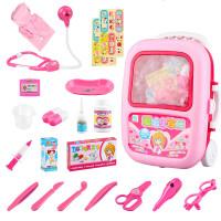 玩具套装 仿真小医生玩具套装工具箱打针护士男孩儿童女孩医护包过家家 手拉杆箱装23件套(粉色)+ 医生服+帽子