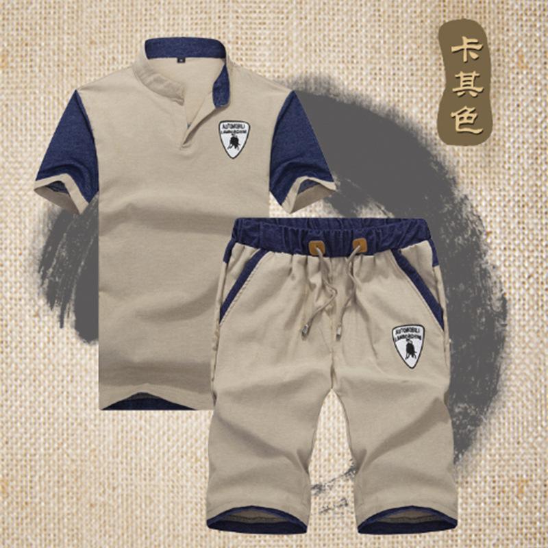 1号牛仔 夏季青少年男士圆领短袖T恤套装韩版纯棉印花学生运动服五分裤