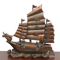 一帆风顺船 铜龙头帆船摆件铜船 黄铜船商务礼品