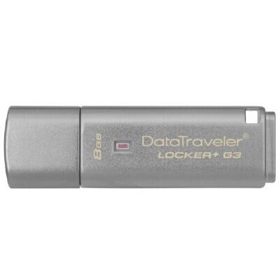 Kingston/金士顿 DTLPG3 8G 优盘硬件加密金属 U盘 银灰 USB3.0 其硬件加密和密码保护功能可保障数据安全