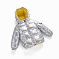 冬季2018新款宝宝太空银色男女童加厚童装冬装小孩儿童羽绒服外套秋冬新款
