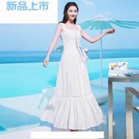 夏季新品一字领吊带裙镂空白色仙女裙长裙海边度假沙滩裙伴娘礼服