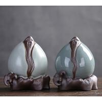创意茶宠紫砂摆件家居装饰品福禄寿桃摆件