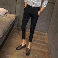青少年修身西装裤小码26 27码韩版贴身小脚裤黑色9分裤锥形休闲裤