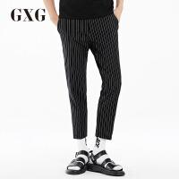 GXG休闲裤男装 夏季男士时尚休闲青年流行修身蓝底白条斯文九分裤