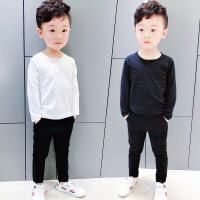 男宝男童白色T恤圆领长袖2018儿童纯棉打底衫黑色 男宝宝春秋上衣